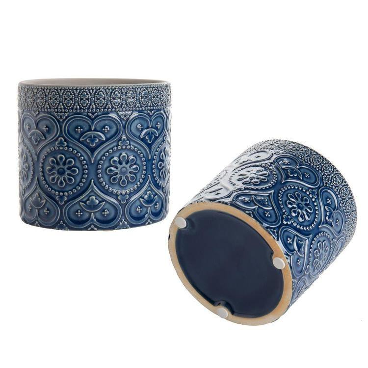 4-Inch Cobalt Blue Ceramic Floral Embossed Succulent Planter Pots, Set of 2 - MyGift Enterprise LLC