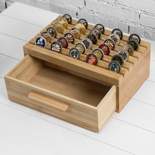 Bamboo Challenge Coin/Casino Chip Display with Drawer - MyGift