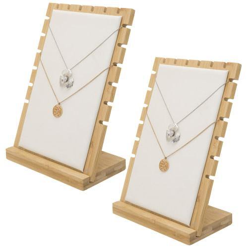 Bamboo & White Panel Jewelry/Necklace Display, Set of 2