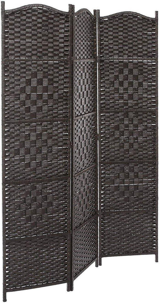 Bamboo Woven 3-Panel Room Divider, Brown
