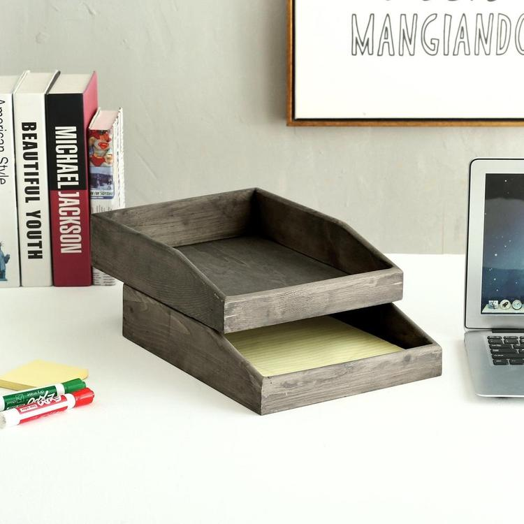 Barnwood Gray Wooden Stackable Document & Paper Trays, Set of 2 - MyGift Enterprise LLC