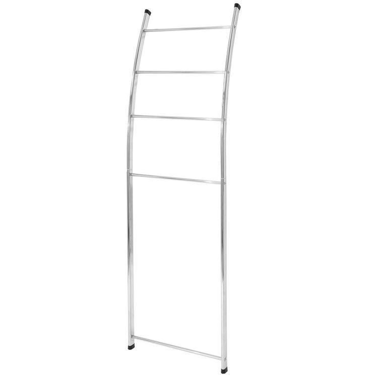 4 Bar Chrome-Plated Bath Towel Ladder, Wall-Leaning Drying Rack Stand - MyGift Enterprise LLC