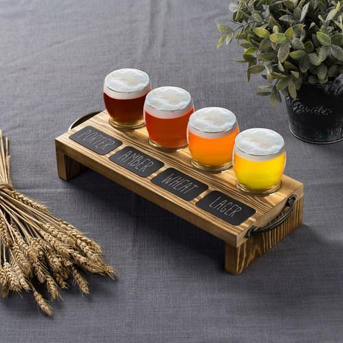 Beer Tasting Flight Set with Burnt Wood Serving Caddy & Chalkboard Labels