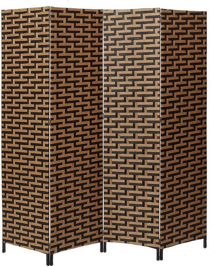 Black & Brown Woven Design Wood Room Divider - MyGift