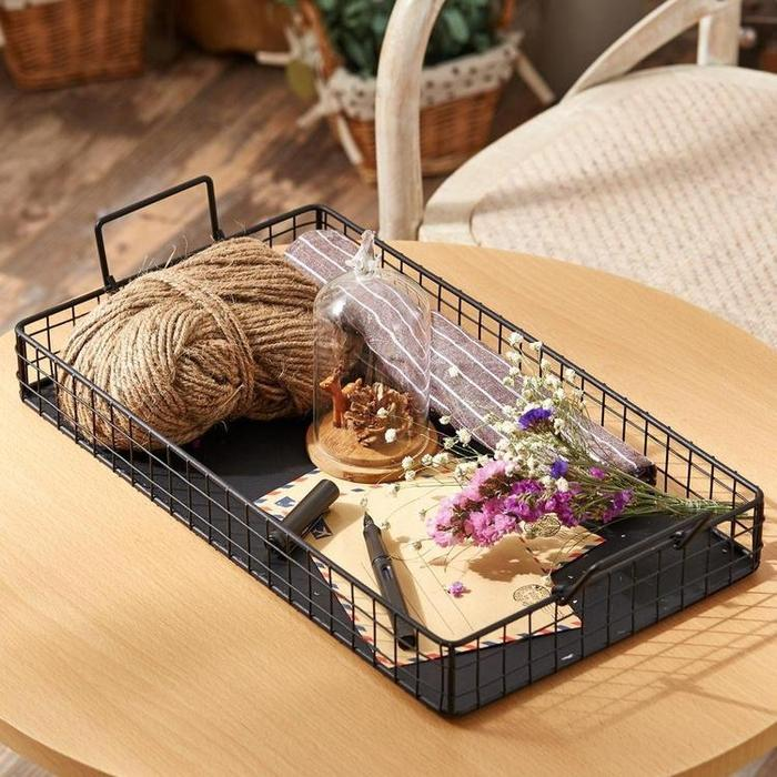 Black Galvanized Metal Wire Nesting Serving Trays with Handles, Set of 2 - MyGift Enterprise LLC