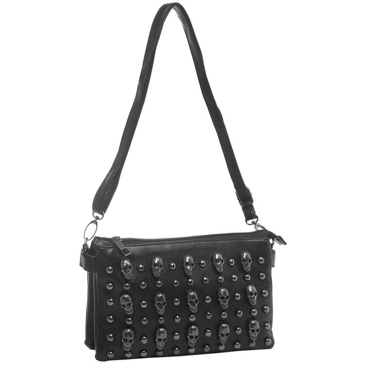 Black Gunmetal Skulls Studded Crossbody Mini Bag
