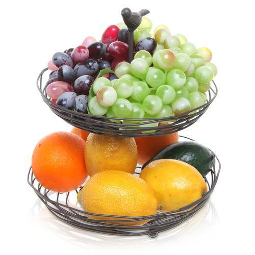 Black Metal Bird Nest Design Produce & Fruit Basket - MyGift