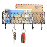 Black Metal Wall Mounted Key and Mail Storage Rack w/ Chicken Wire Mesh Basket - MyGift Enterprise LLC