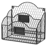 Black Metal Chicken Wire Wall Mountable Mail Sorter, Desktop Stationery Organizer w/ Chalkboard Label - MyGift Enterprise LLC
