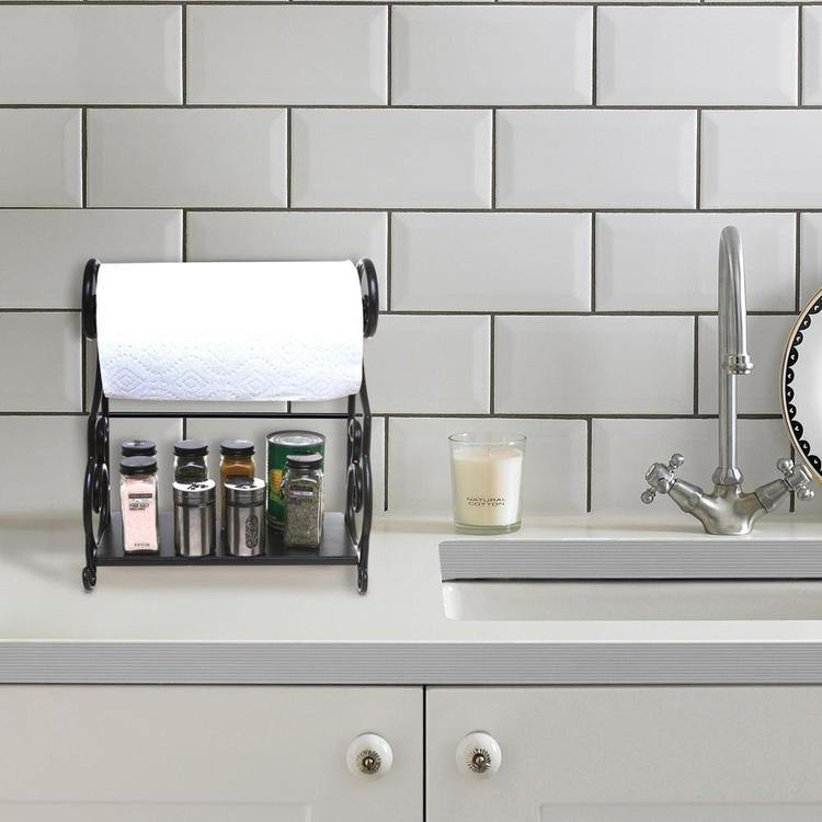 Black Metal Countertop Paper Towel Holder with Condiment Shel