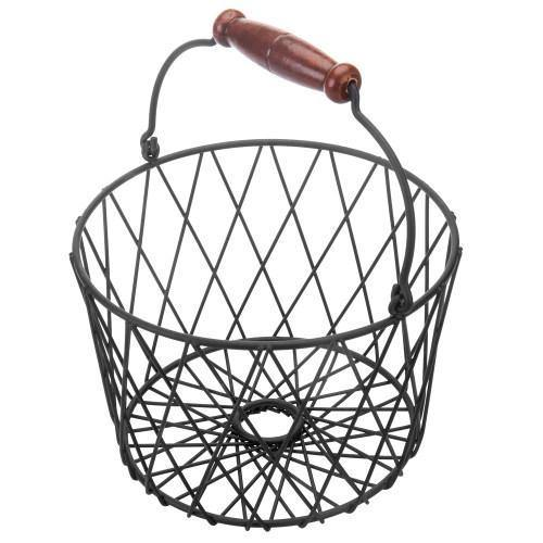 Black Metal Country Style Egg Basket with Handle - MyGift
