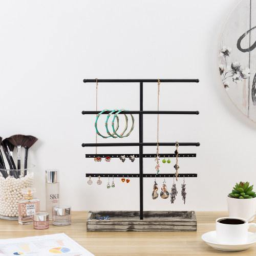 Black Metal Jewelry Organizer Stand with Torched Wood Ring Tray - MyGift