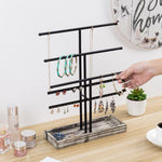 Black Metal Jewelry Organizer Stand with Torched Wood Ring Tray