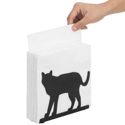 "Black Metal Napkin Holder ""Cat"" - MyGift"