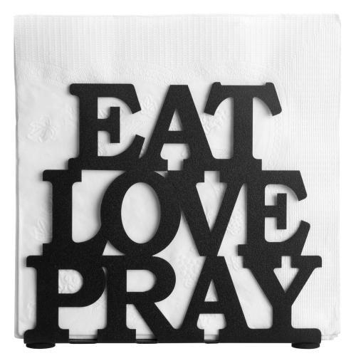 Black Metal Napkin Holder EAT LOVE PRAY