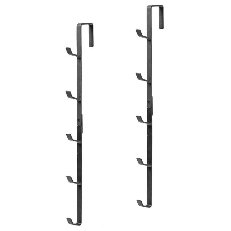 Black Metal Over-the-Door Coat, Hat & Purse Rack with 5 Hooks, Set of 2 - MyGift Enterprise LLC