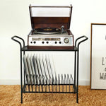 2-Tier Modern Lattice Style Metal Turntable and Vinyl Record Storage Table Stand - MyGift Enterprise LLC