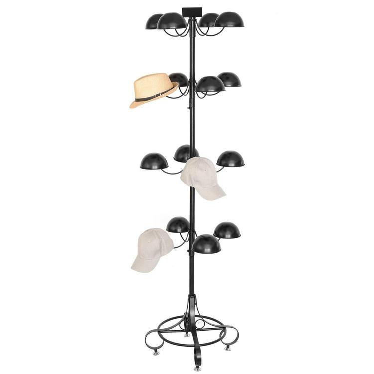 Black Metal 4 Tier Rotating 16 Dome-Shaped Hat & Wig Holder Rack - MyGift Enterprise LLC