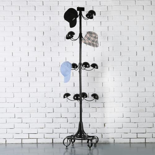 Black Metal Rotating Hat & Wig Holder Rack