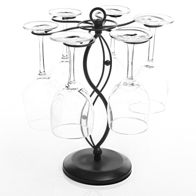 Scrollwork Black Metal Freestanding Tabletop Stemware Storage Rack with 6 Hooks - MyGift Enterprise LLC