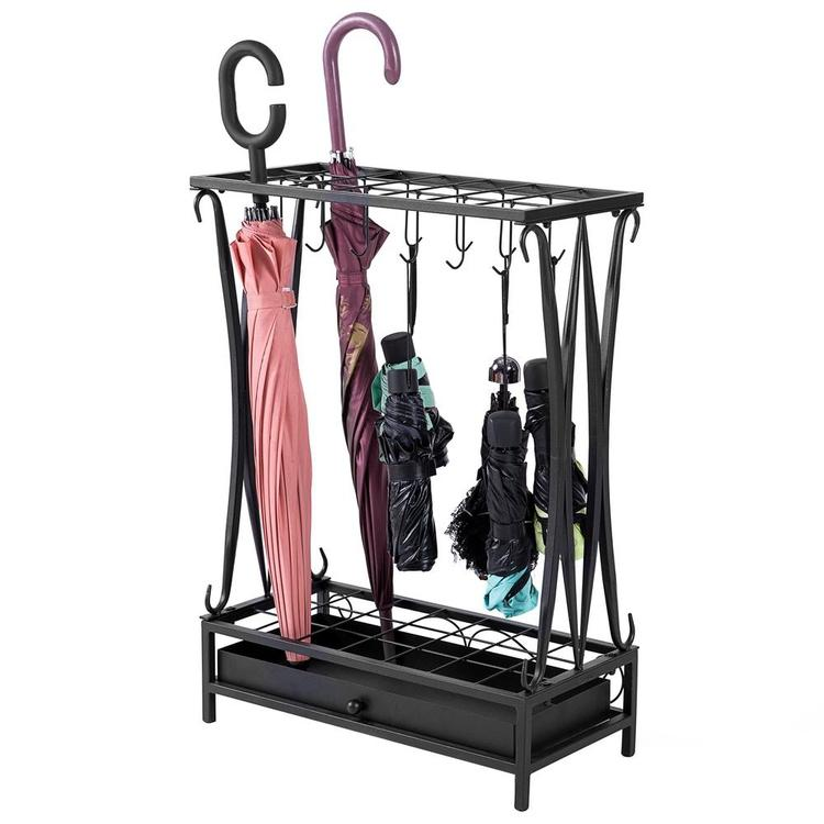 Modern Black Metal Umbrella Storage Rack with Removable Base Drip Tray - MyGift Enterprise LLC