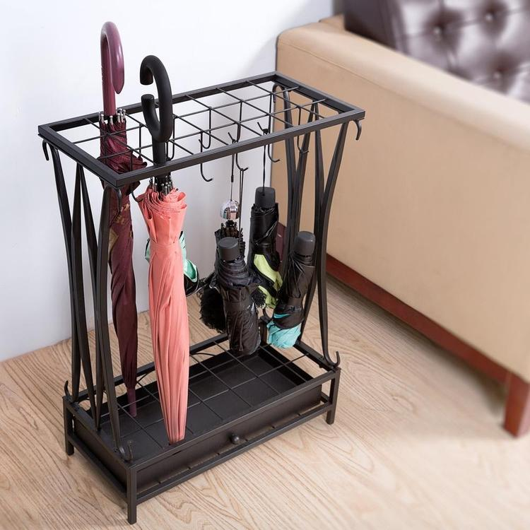 Black Metal Umbrella Rack with Drip Tray