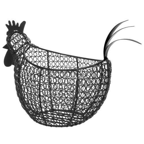 Black Metal Wire Chicken-Shaped Egg Storage Basket