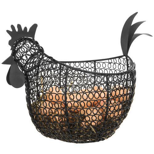Black Metal Wire Chicken-Shaped Egg Storage Basket - MyGift