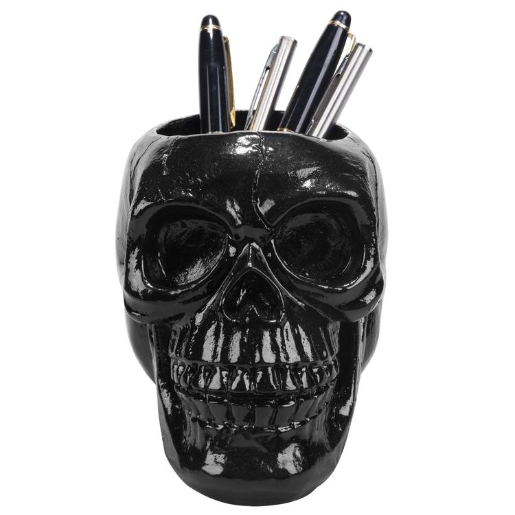 Black Skull Resin Pen & Pencil Holder