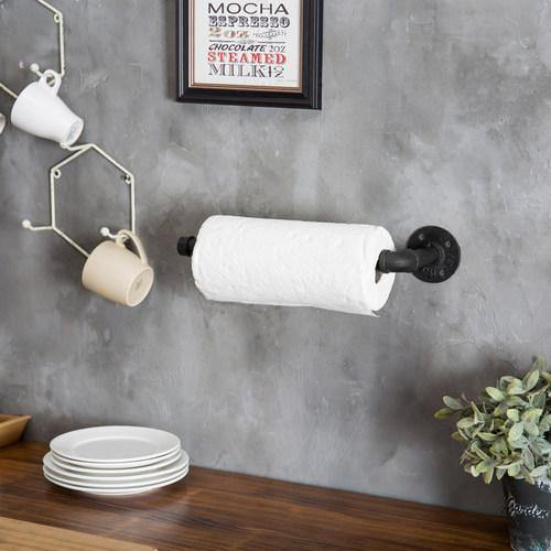 Black Wall-Mounted Industrial Pipe Paper Towel Holder