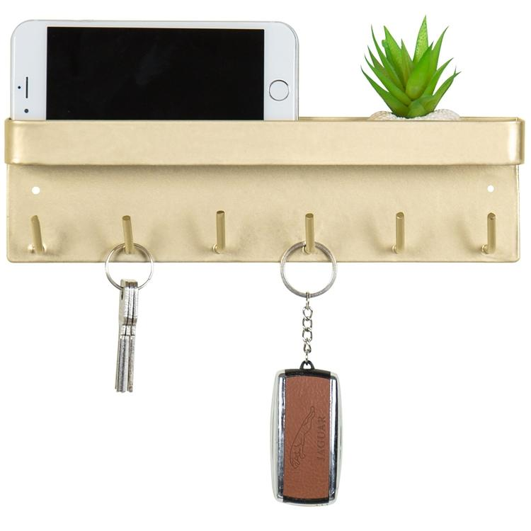 Brass Metal 6 Key Holder and Shelf