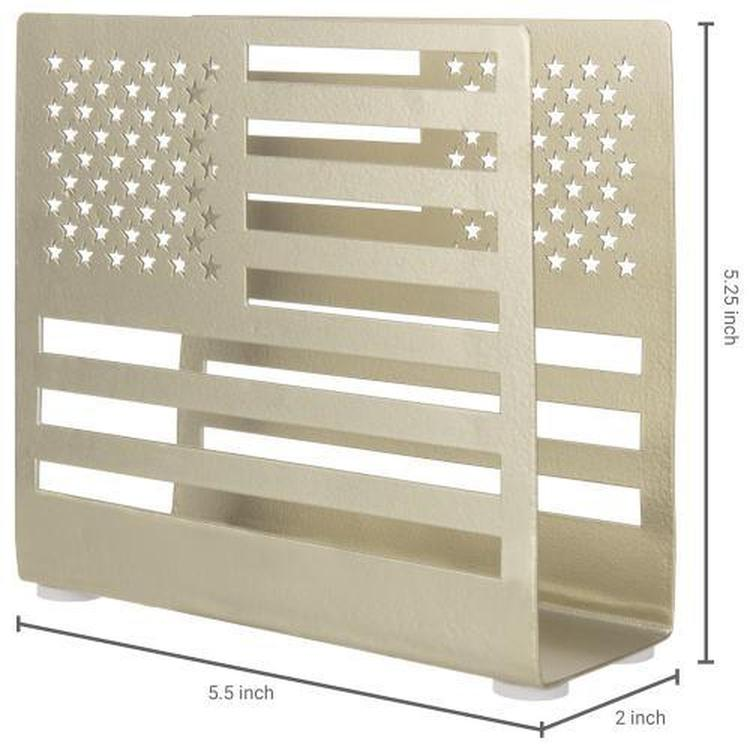 Brass Metal American Flag Cutout Napkin Holder