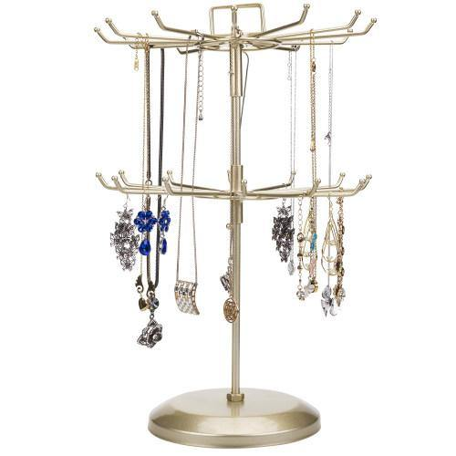 Brass Metal Rotating Jewelry Organizer with Hairclip Holder - MyGift
