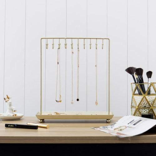 Brass-Tone 20-Hook Necklace Display