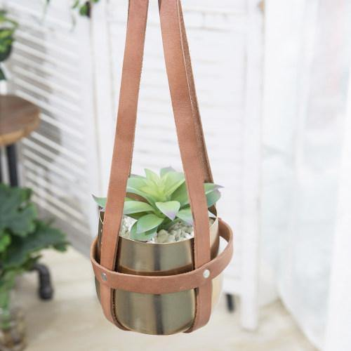 Brass Tone Metal Hanging Planter with Brown Leather Straps