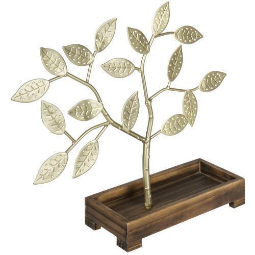 Brass-Tone Metal Jewelry Tree with Wood Ring Tray