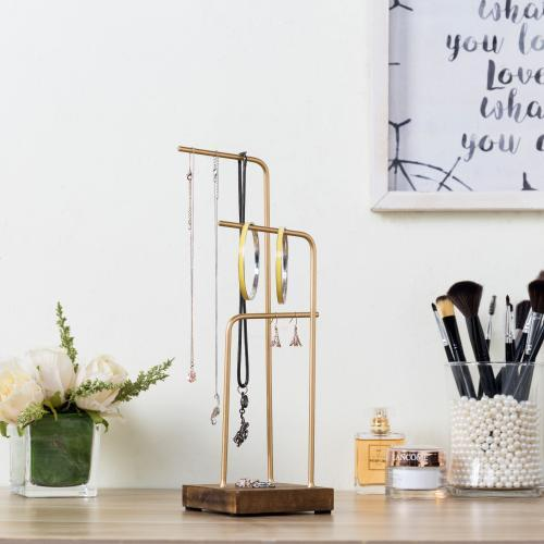 Brass Tone Metal & Rustic Wood Jewelry Display Stand