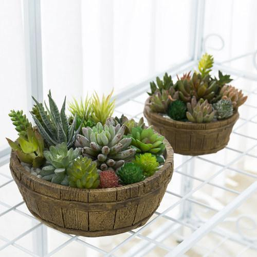 Brown Barrel Design Nesting Cement Planters, Set of 2