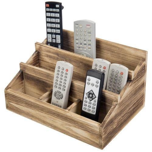 Brown Burnt Solid Wood Remote Control/Tablet Holder Caddy - MyGift