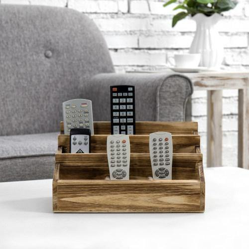 Brown Burnt Solid Wood Remote Control/Tablet Holder Caddy