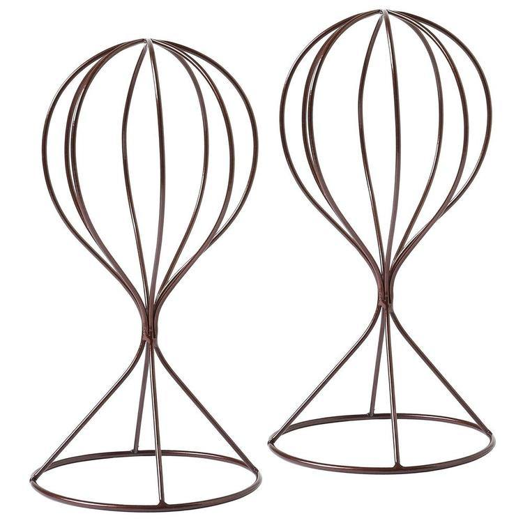 Decorative Modern Tabletop Metal Hat / Wig Stands, Set of 2, Brown - MyGift Enterprise LLC