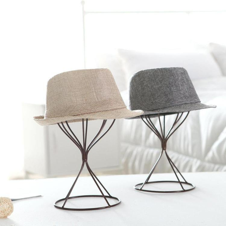 Brown Metal Wire Hat Display Stands, Set of 2