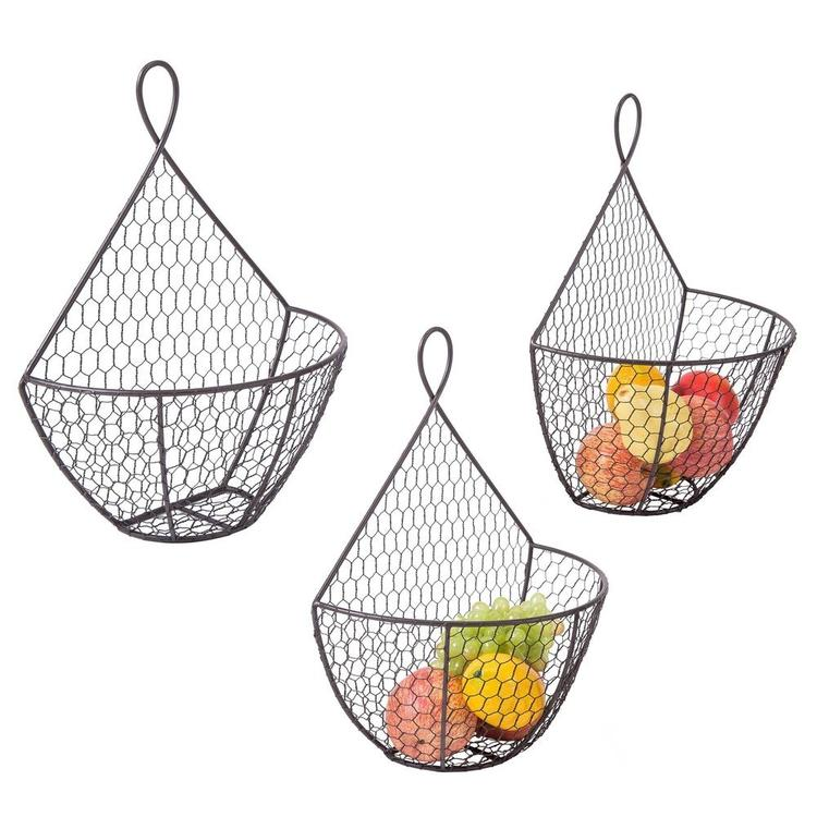 Wall Mounted Brown Chicken Wire Metal Produce Baskets, Set of 3 - MyGift Enterprise LLC