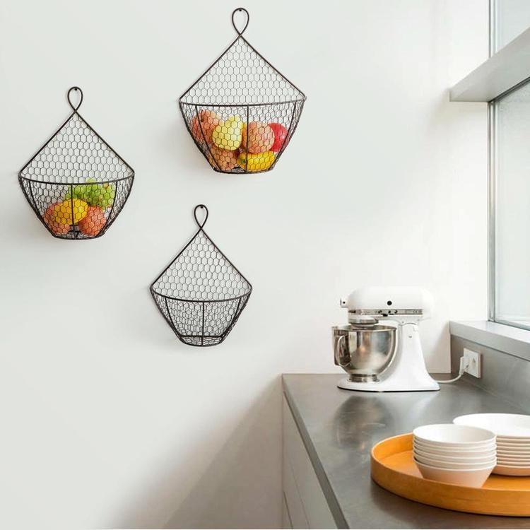 Brown Wall Hanging Chicken Wire Produce Baskets, Set of 3