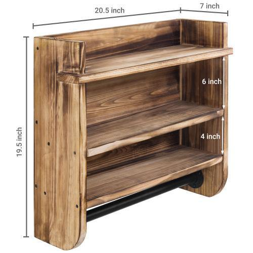 Brown Wood Bathroom Shelf & Metal Towel Bar
