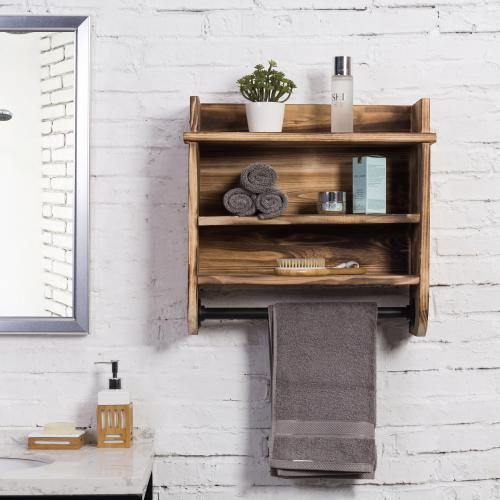 Brown Wood Bathroom Shelf Metal Towel Bar Mygift