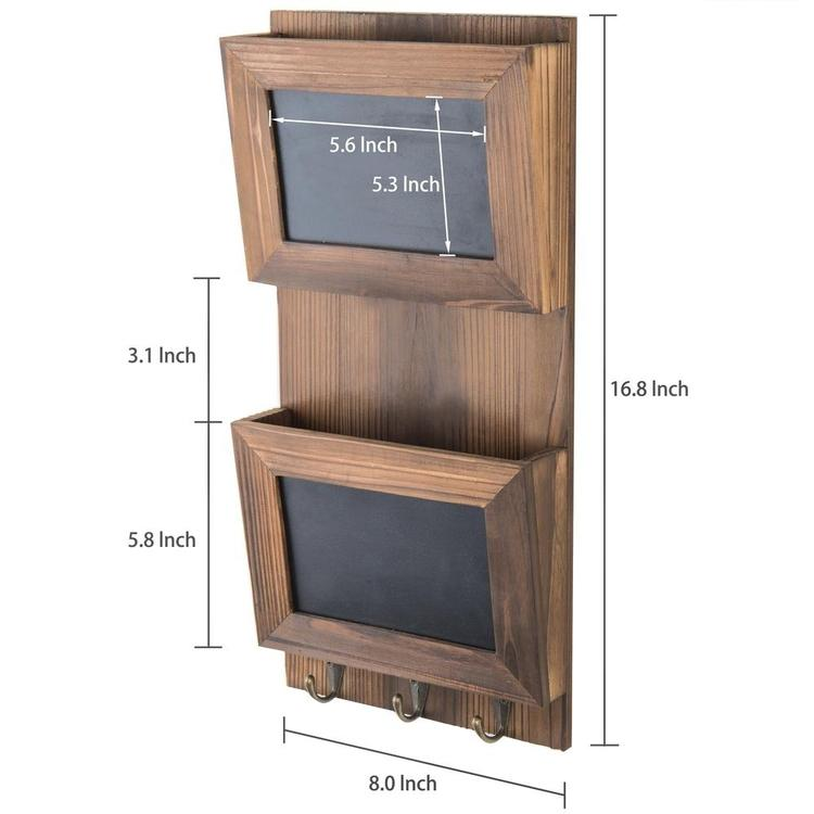 Wall-Mounted Wood Mail Sorter with Chalkboard Panels & Key Hooks - MyGift Enterprise LLC