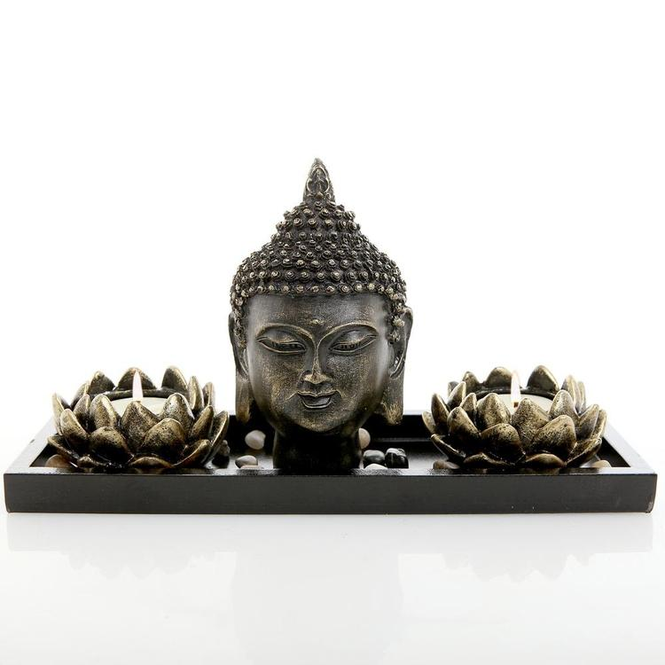 Buddha Head Sculpture Zen Garden Set w/ Lotus Candle Holders & Wooden Tray - MyGift Enterprise LLC