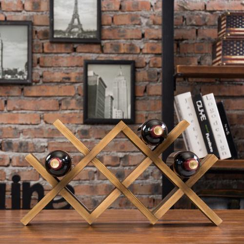 Burnt Solid Wood Countertop Wine Rack - MyGift