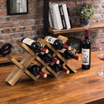 Burnt Solid Wood Countertop Wine Rack